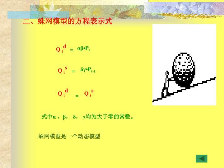 二、蛛网模型的方程表示式