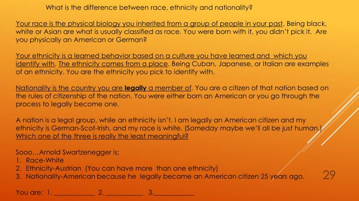 defining the differences between race and ethnicity I looked up the difference between nationality and ethnicity because of all the race talk that's going on in america right now nationality i get its where you are, but i'm still confused about the ethnicity or race conversation.