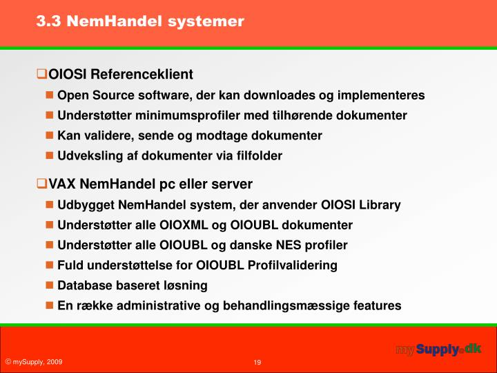 3.3 NemHandel systemer
