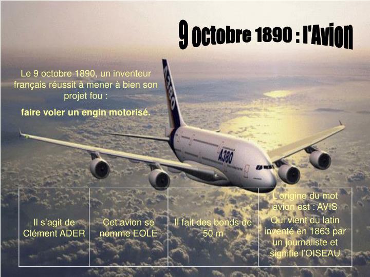 9 octobre 1890 : l'Avion