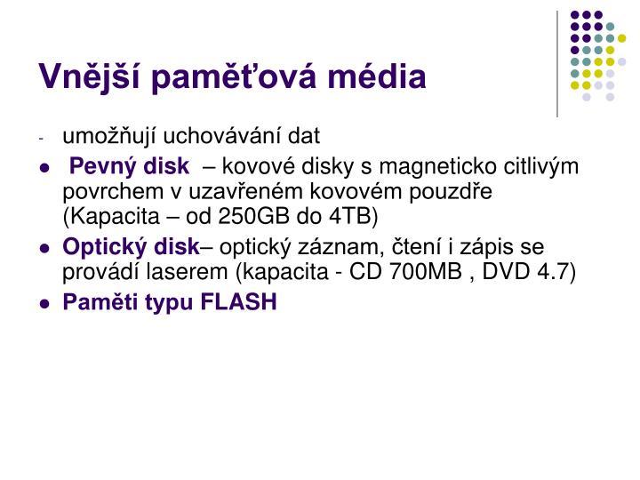 Vnější paměťová média