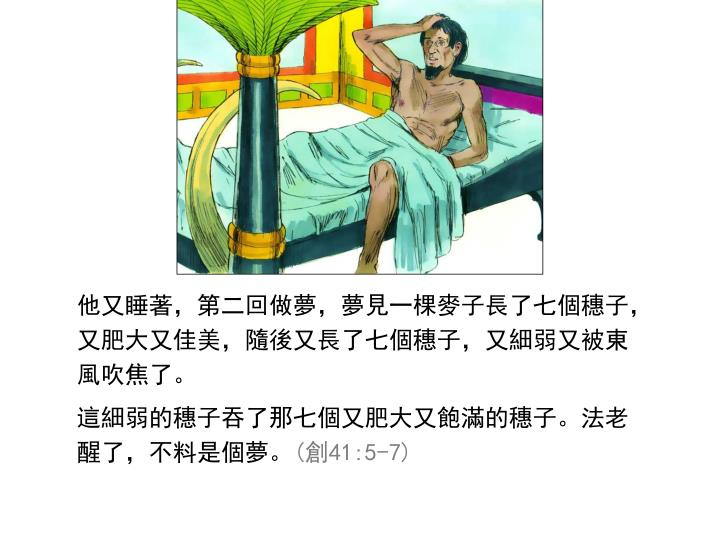 他又睡著,第二回做夢,夢見一棵麥子長了七個穗子,又肥大又佳美,隨後又長了七個穗子,又細弱又被東風吹焦了。