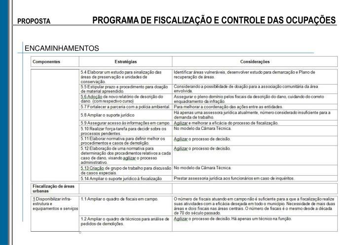 PROGRAMA DE FISCALIZAÇÃO E CONTROLE DAS OCUPAÇÕES