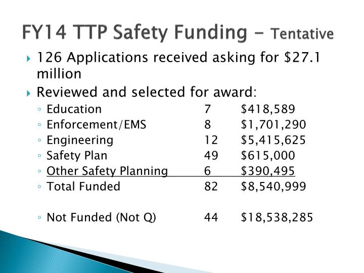 FY14 TTP Safety