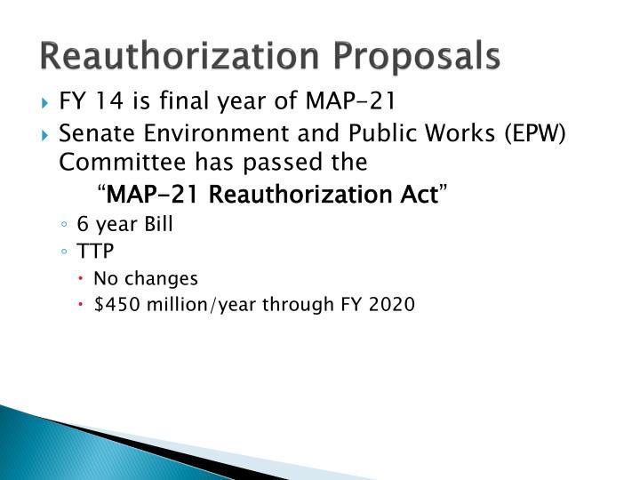 Reauthorization Proposals