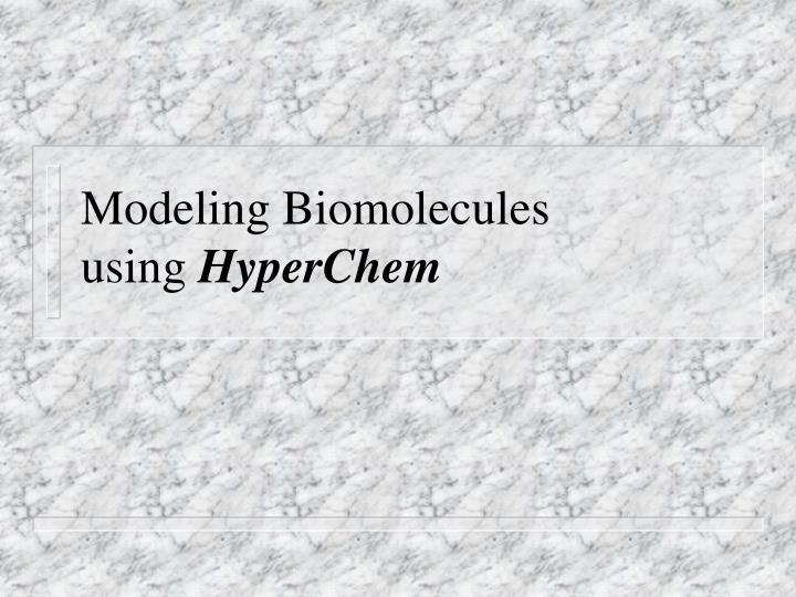 Modeling Biomolecules