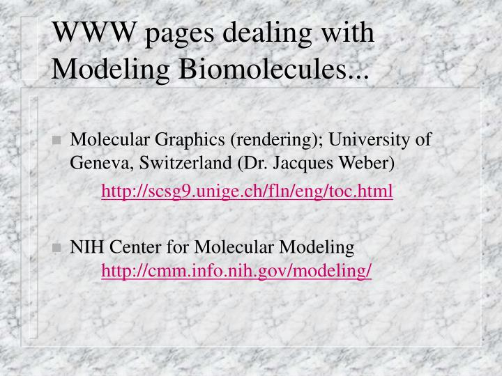WWW pages dealing with Modeling Biomolecules...