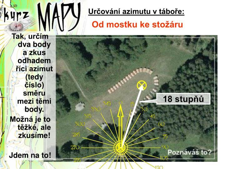 Určování azimutu v táboře:
