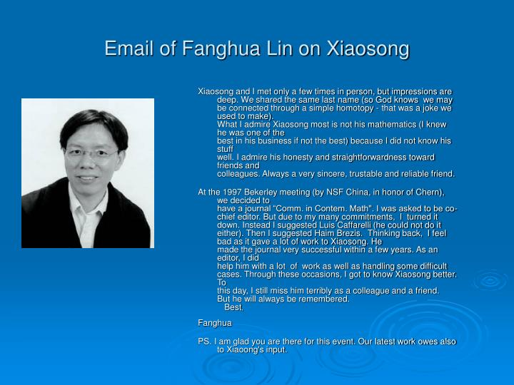 Email of Fanghua Lin on Xiaosong