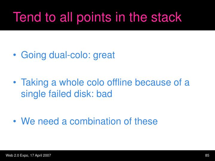 Tend to all points in the stack