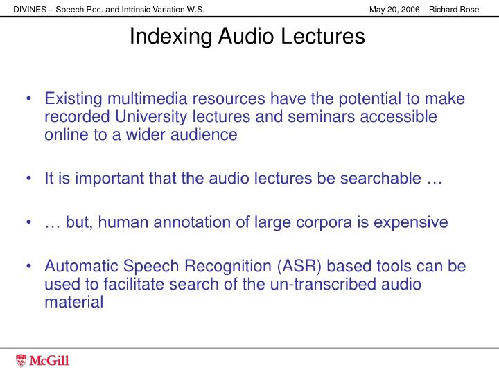 Indexing Audio Lectures