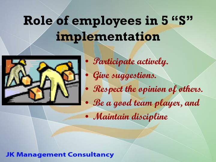 "Role of employees in 5 ""S"" implementation"