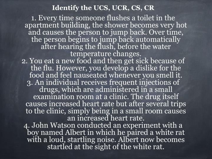 Identify the UCS, UCR, CS, CR