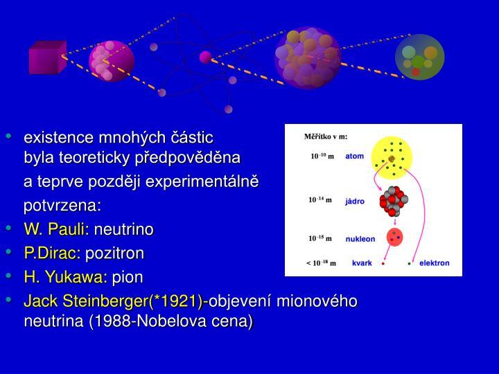 existence mnohých částic