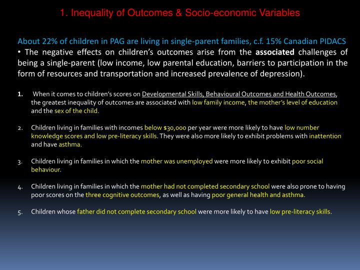 1. Inequality of Outcomes & Socio-economic Variables