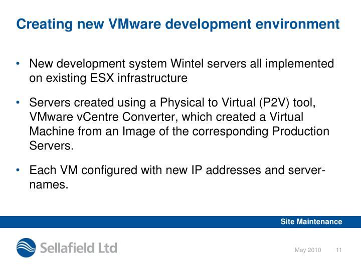 Creating new VMware development environment