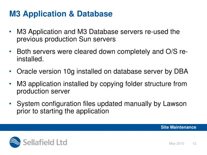 M3 Application & Database