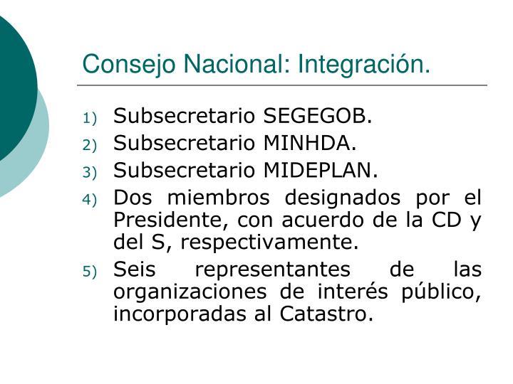 Consejo Nacional: Integración.