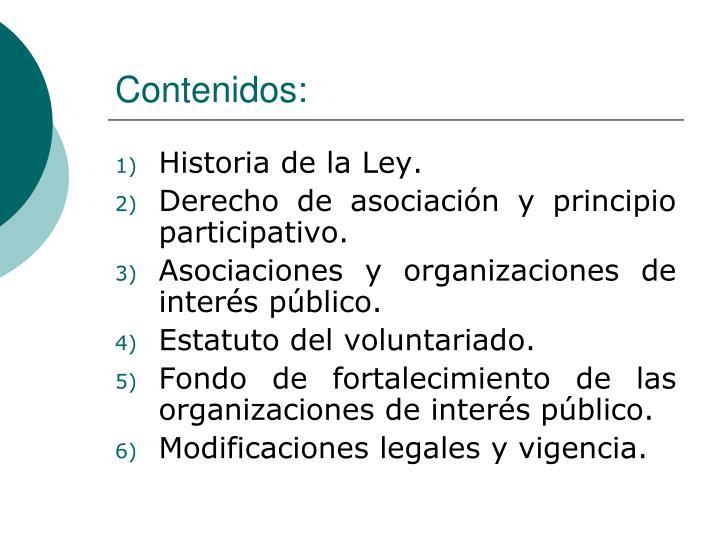 Contenidos: