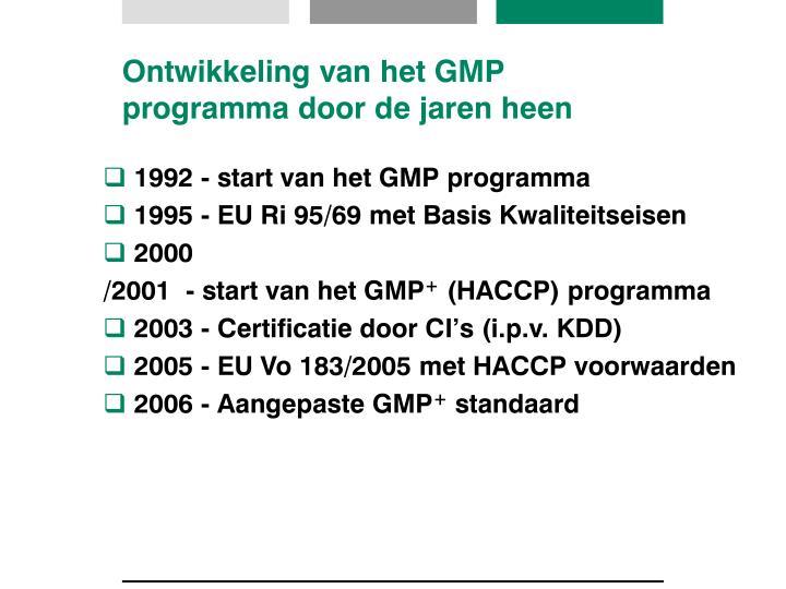 Ontwikkeling van het GMP programma door de jaren heen