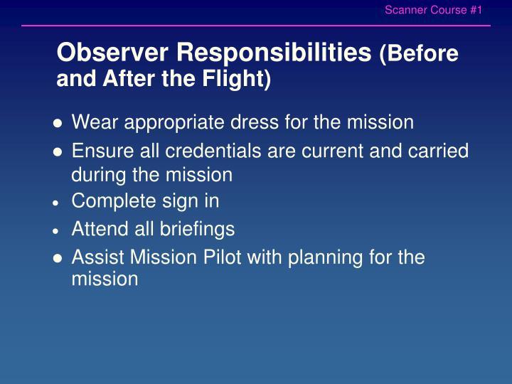 Observer Responsibilities