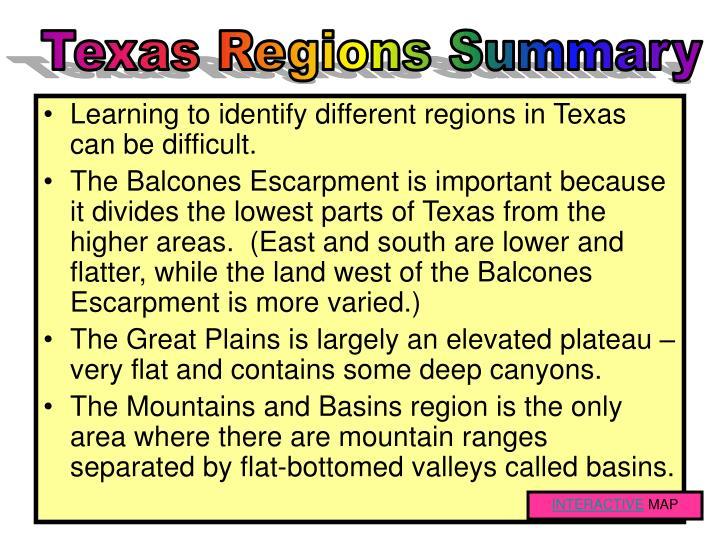 Texas Regions Summary
