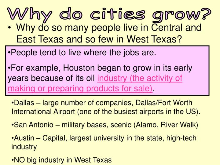 Why do cities grow?
