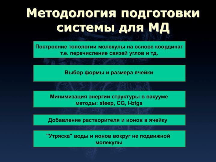 Методология подготовки системы для МД