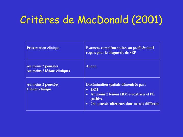Critères de MacDonald (2001)