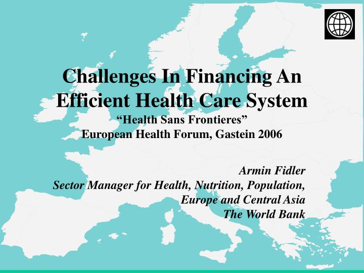 the challenges in changing the health financing system Health finance issues a valuable benchmark for all stakeholders anticipating the fiscal footprint of the health care system on the (annual % change) 73% 53.