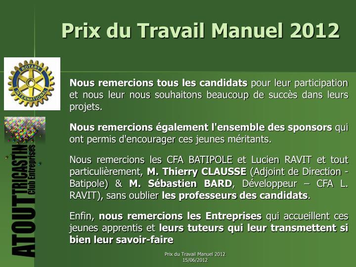 Prix du Travail Manuel 2012