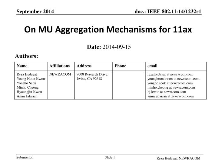 On mu aggregation mechanisms for 11ax