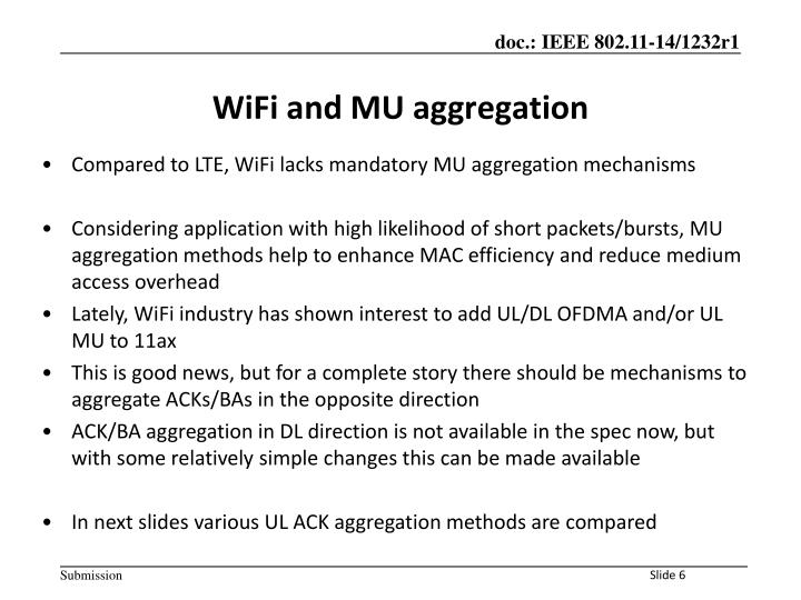 WiFi and MU aggregation