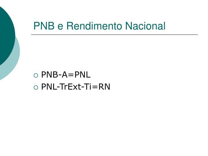 PNB e Rendimento Nacional