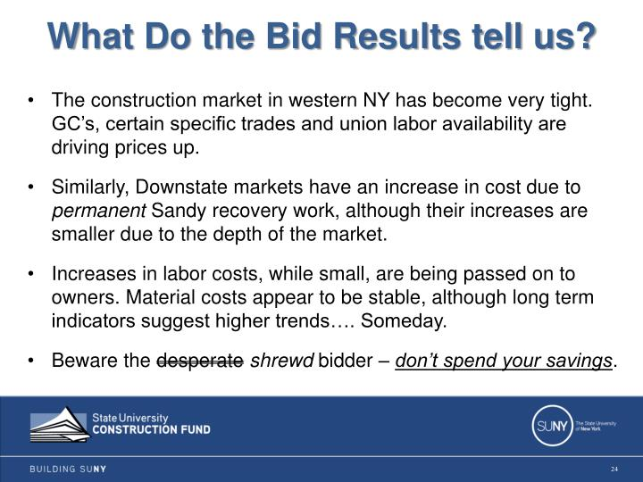 What Do the Bid Results tell us?