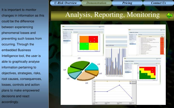 It is important to monitor changes in information as this could be the difference between experiencing phenomenal losses and preventing such losses from occurring. Through the embedded Business Intelligence tool, the user is able to graphically analyse information pertaining to objectives, strategies, risks, root causes, consequences, losses, controls and action plans to make empowered decisions and react accordingly.