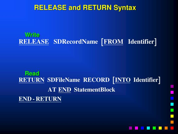 RELEASE and RETURN Syntax