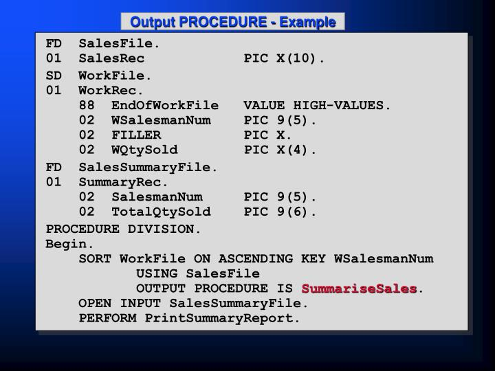 Output PROCEDURE - Example