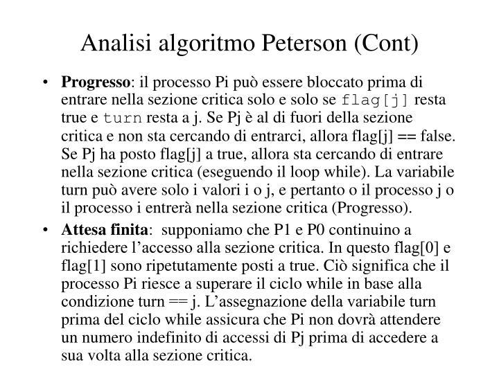 Analisi algoritmo Peterson (Cont)