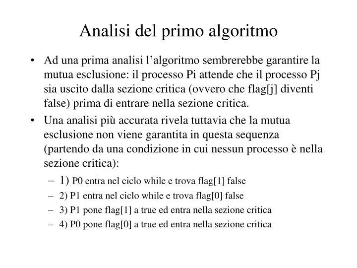 Analisi del primo algoritmo