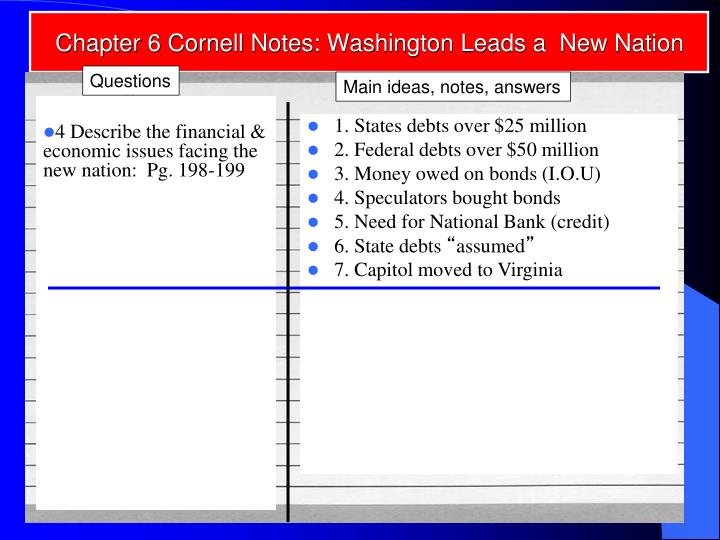 Chapter 6 Cornell Notes: Washington Leads a  New Nation