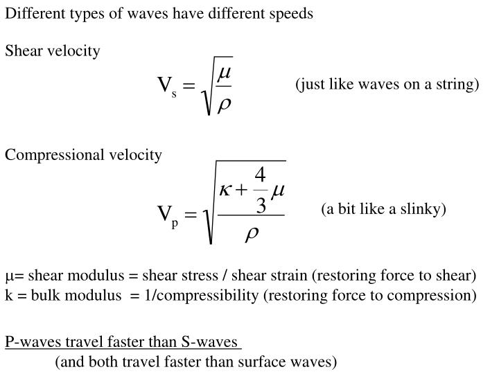 Different types of waves have different speeds