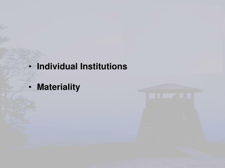 Individual Institutions
