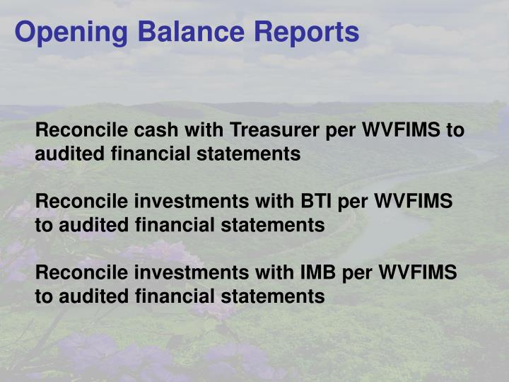 Opening Balance Reports
