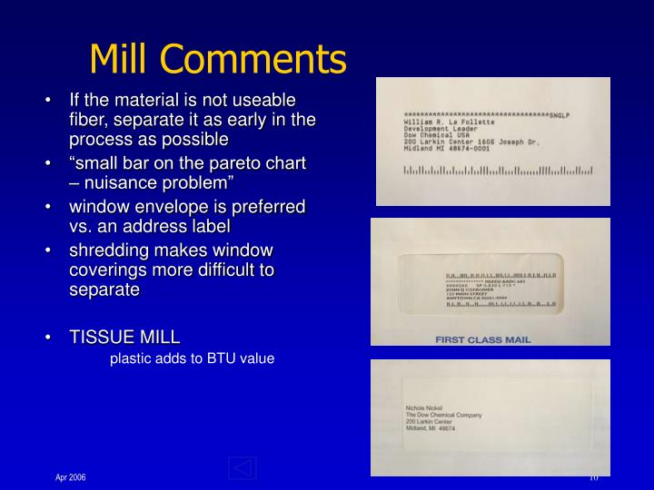 Mill Comments
