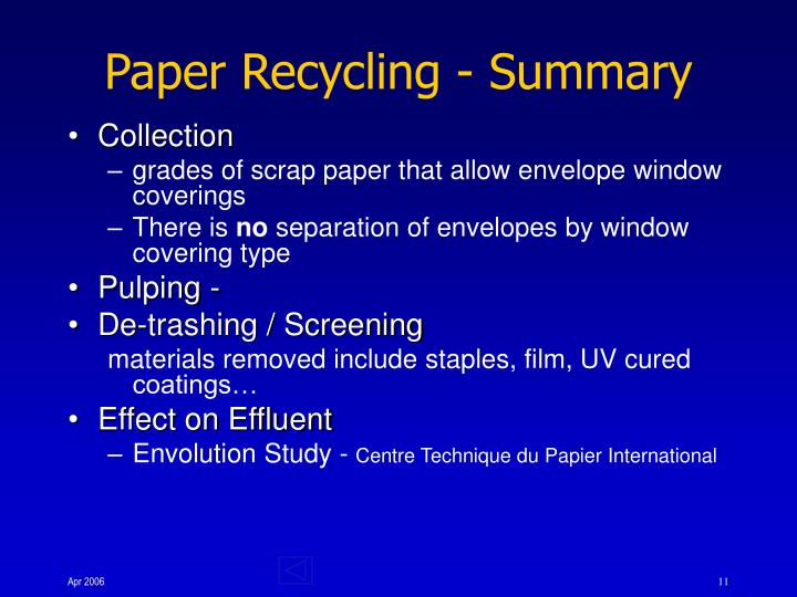 Paper Recycling - Summary