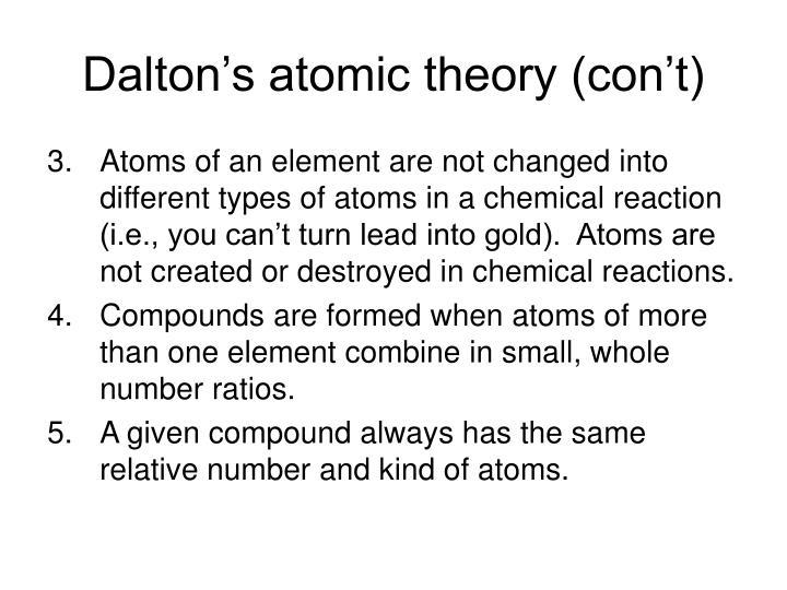 Dalton's atomic theory (con't)