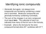 identifying ionic compounds