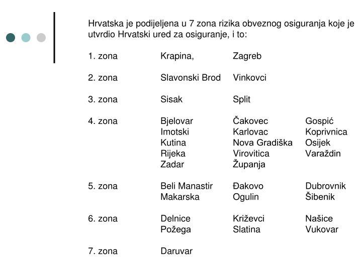 Hrvatska je podijeljena u 7 zona rizika obveznog osiguranja koje je utvrdio Hrvatski ured za osiguranje, i to: