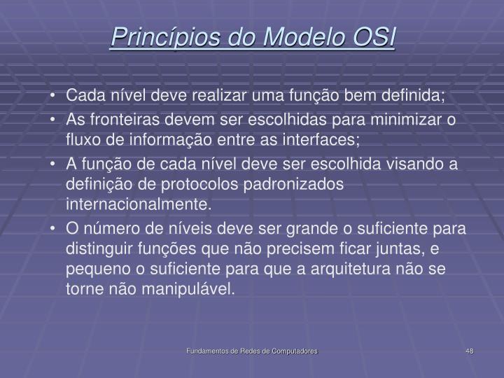 Princípios do Modelo OSI
